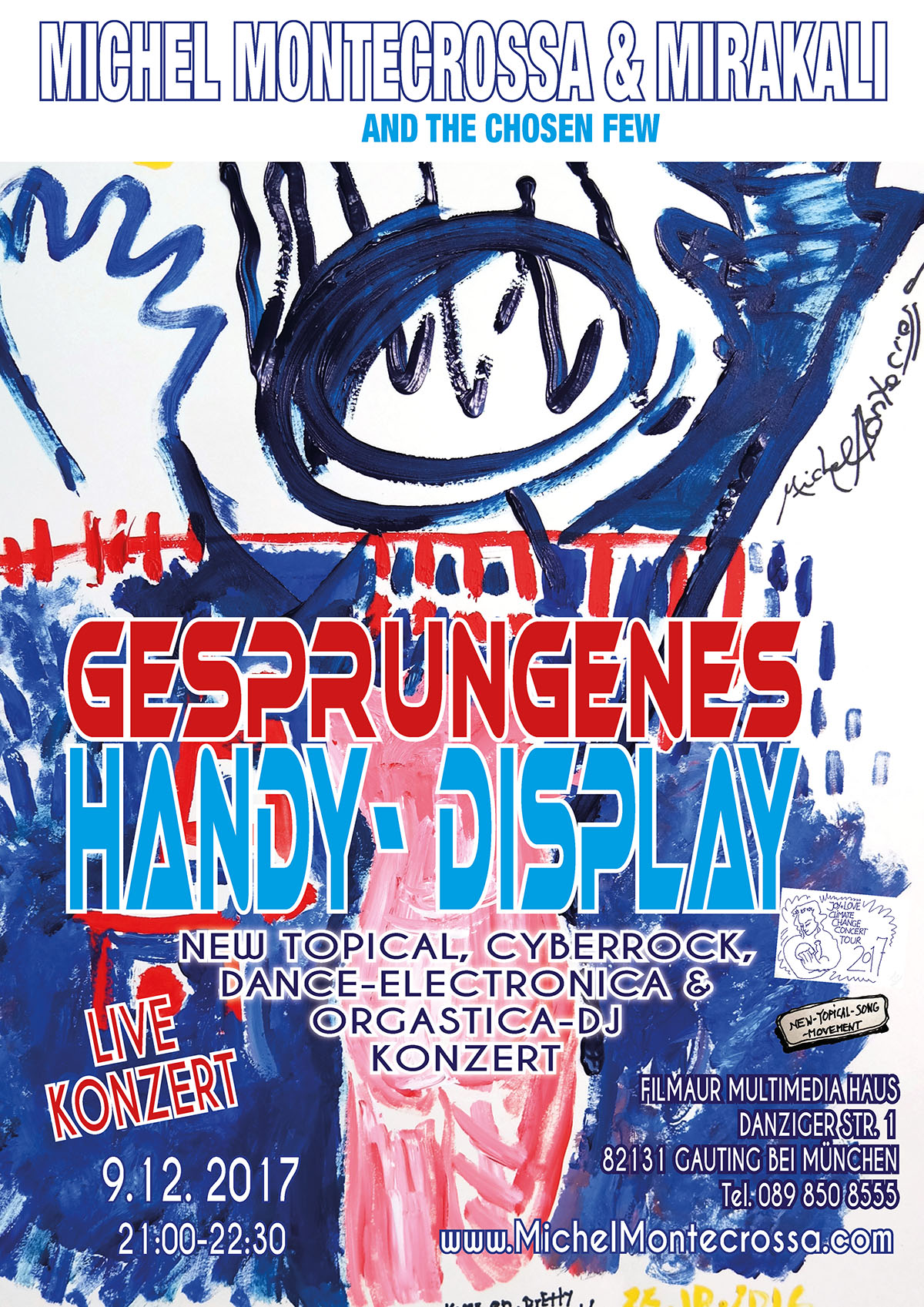 'Gesprungenes Handy-Display' New-Topical, Cyberrock, Dance-Electronica & Orgastica-DJ Konzert mit Michel Montecrossa und Mirakali (Filmaur Multimedia Haus; Gauting) am 9-12-2017