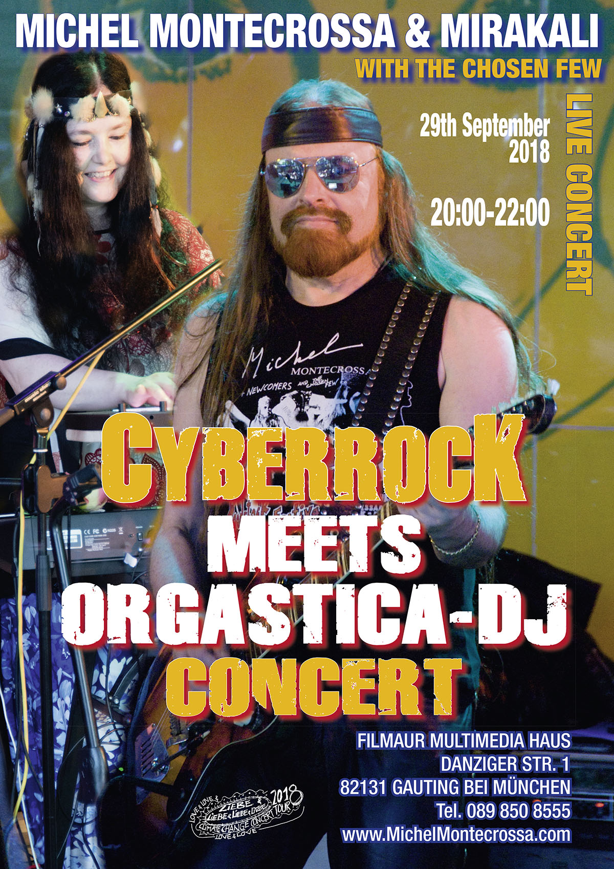 Concert Poster: 'Cyberrock Meets Orgastica-DJ' Concert with Michel Montecrossa & Mirakali on 29th September 2018 at the Filmaur Multimedia House (Gauting near Munich, Germany)