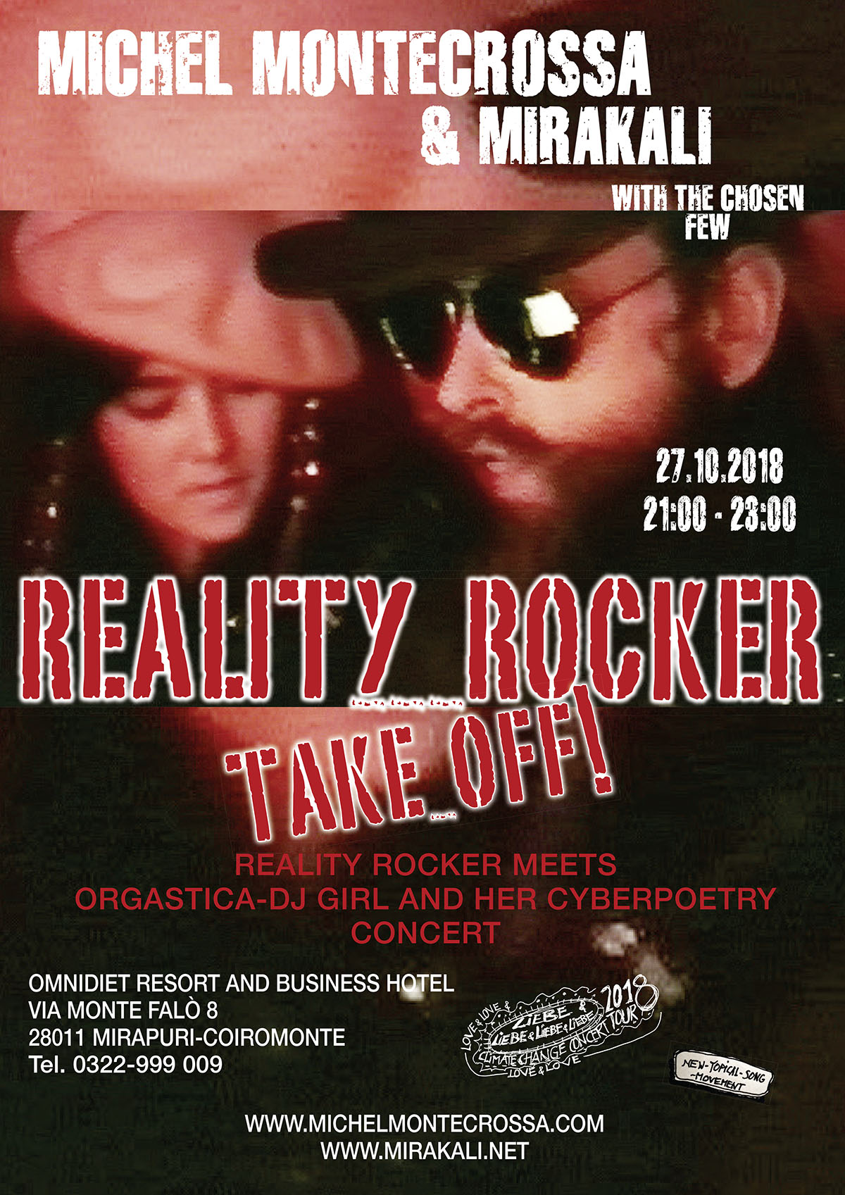 Concert Poster: 'Reality Rocker Take Off!' Cyberrock & Orgastica-DJ Concert by Michel Montecrossa and Mirakali in the Omnidiet Music-Hall in Mirapuri on 27th October 2018