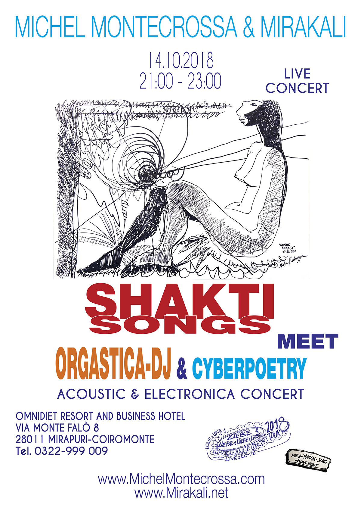 Concert Poster: 'Shakti Songs meet Orgastica-DJ & Cyberpoetry' Acoustic & Electronica Concert on 14th October 2018 in the Omnidiet Music-Hall (Mirapuri, Italy).