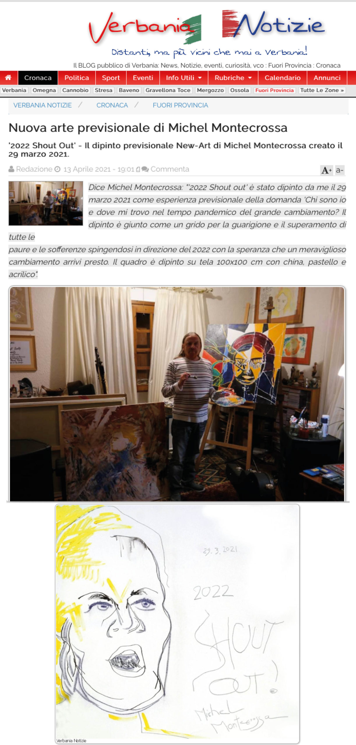 Italian Verbania Notizie on Michel Montecrossa's painting: '2022 Shout Out'